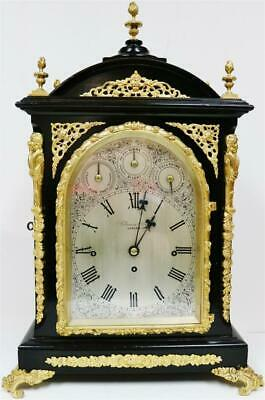 Antique English Ebonised & Bronze Triple Fusee Musical 4 & 8 Bell Bracket Clock