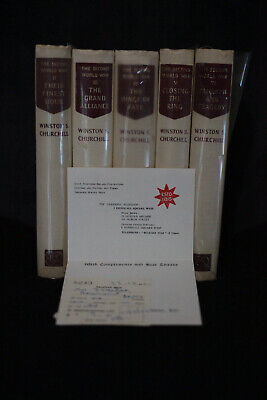 Winston Churchill World War II volumes II - VI with original receipt