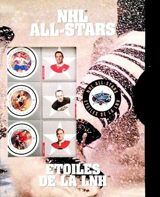 Canada Post 2001 NHL Alumni All-Star 2 Stamp Set #1885 Full Pane of 6 in Cover