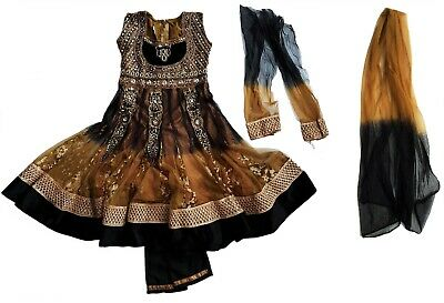 Girls Dress Trousers Set Gold Bollywood Indian Jewel Lace Velvet Embroidered 7-8