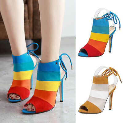 New Women Peep Toe Slingback Lace Up Sandals Colourful Stiletto High Heels Shoes