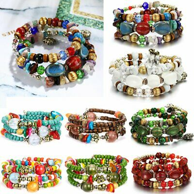 Women Multilayer Boho Tassel Natural Stone Beads Pendant Bohemia Bracelet Set