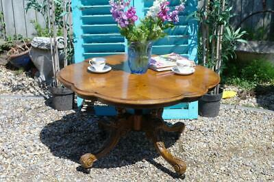 LARGE Antique French Inlay Burr Walnut Coffee Table Low Sofa Dining Country Chic