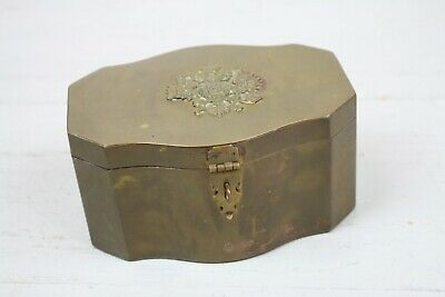 Antique Brass Box English Crest Shield Relief Lid Latch Clasp Tin Lined Rounded