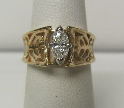 14KT Ornate Yellow Gold .50 ctw Marquise Diamond Solitaire Ring Size 5 J1522