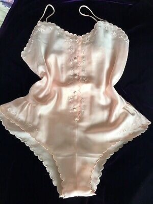 VINTAGE cute Peachy Satin Teddy Playsuit ST Michaels size 12 Lingerie New