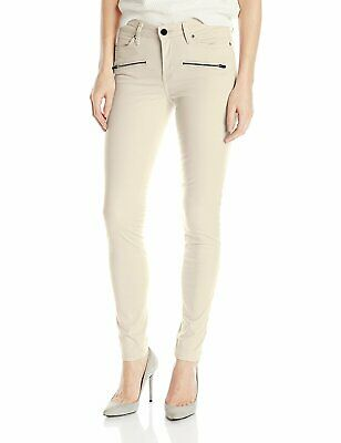 Calvin Klein Jeans Women's Color Driver Moto Legging, Misty White, Sz 31