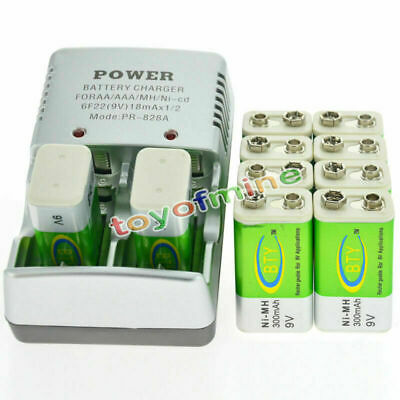 10 BTY 9v 9 Volt Rechargeable Battery 300mAh + Charger