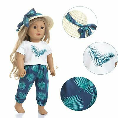 Summer Casual Beach Clothes for American 18 Inch Doll Hat +Shirt +Pant Kids Gift