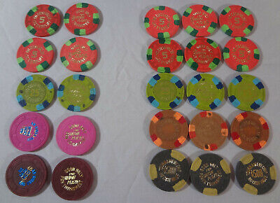 Vintage Union Plaza Poker & Pan Tournament lot of 25 Chips Vegas $500 $80 100 $1
