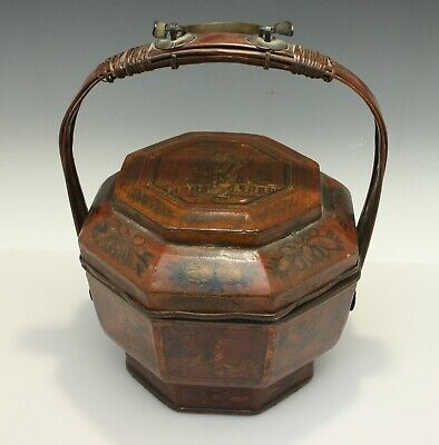 Chinese Octagonal Woodenware Lacquered & Painted Brides Basket Brass Mountings