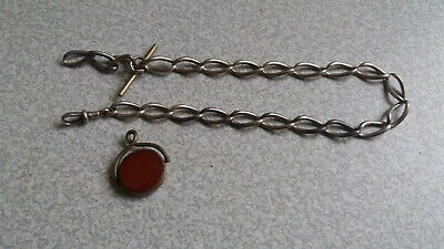 Vintage Sterling Silver Pocket Watch Fob Chain  & Gilt / Gold Plated Fob
