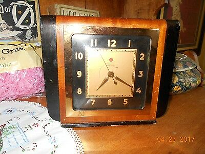 "Telechron Vintage Electric Clock Model 4F73 Red Dot Working 6 3/4"" X 8"" ...."