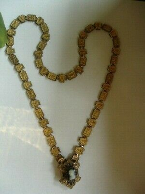 Antique Victorian Gold Filled Book Chain Hardstone Cameo Necklace