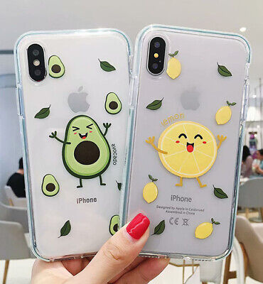 Case Cover For iPhone XS MAX XR X 8 7 6s Plus Soft Tpu lemon Avocado Clear