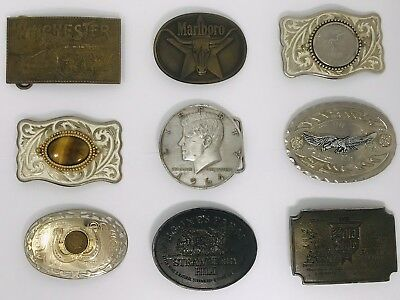Vintage Lot of 9 Belt Buckles Lot Brass & Metal