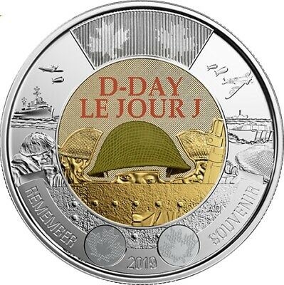 Brilliant Uncirculated 2019 Canada Color 75th D-Day 2 Dollars From Mint's Roll