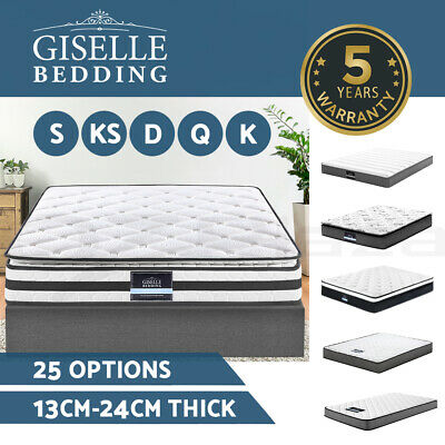 Giselle Bedding Queen Mattress Double King Single Size Bed Pillow Top Spring