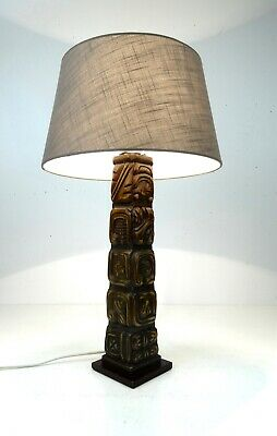 Huge Original Mid Century Vtg Tiki Table Lamp By Temde Modern Mahogany