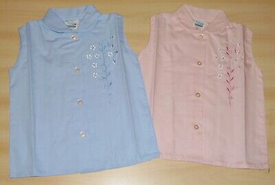 2 PACK OF VINTAGE 1970s GIRLS PINK & BLUE FLORAL EMBROIDERED BLOUSES 4-5 to 6-7