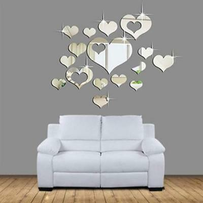 DIY Mirror Hearts Wall Sticker Removable Decal For Livingroom Mural Decoration