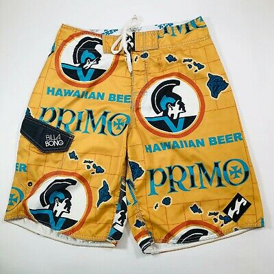 e2c490f377 Primo Beer Billabong Board Surf Swim Shorts Trunks Size 32 White Limited  Edition