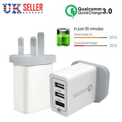 QC 3.0 Charger UK Plug 30W Fast Quick Charge Adapter 3 Ports USB Travel Wall UK
