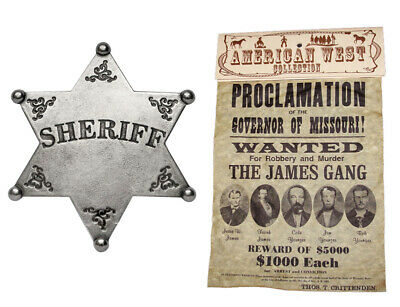American Western Old West Jesse James Gang Wanted Poster & Classic Sheriff Badge