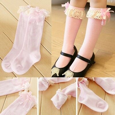 Cute Girl Kids Knee High Cotton School Socks Bow Frilly Lace Bow Stocking QI