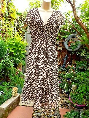 Vintage COUNTRY CASUALS CC Silk Cocktail Dress  Brown & Cream   Size 12