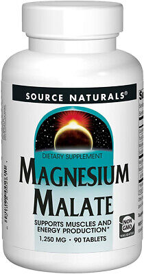 Source Naturals Magnesium Malate 1250mg Supplement Supports Muscle Function