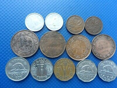 13 Old Coins Of Canada. 1881 - 1953. .Fine.
