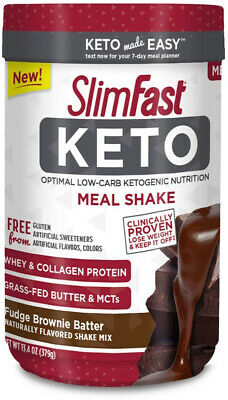 Slimfast Keto Meal Replacement Powder Fudge Brownie Batter Canister, 13.4 oz, 1