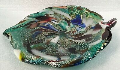 End Of The Day Multi-Colored Art Glass Leaf Dish