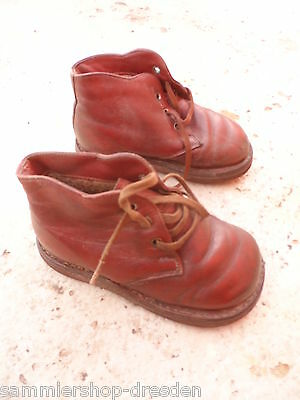 24074 alte Kinderschuhe Puppenschuhe Leder vint Doll`s shoes leather 17cm