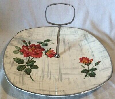 """Vintage Cake Stand/Carrier Plate Midwinter Rose Pattern """"Modern Fashion Shape"""""""
