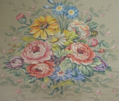 Antique French Tapestry Square Floral Bouquet Uu587