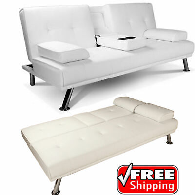 White Faux Leather Sofa Bed Double Click Clack Settee 2 3 Seat Modern Couch NEW
