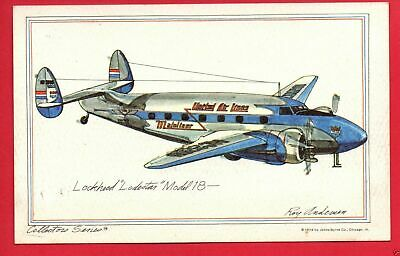 Lockheed Lodestar Model 18 1974 United  Collector Series  Roy Andersen  Postcard