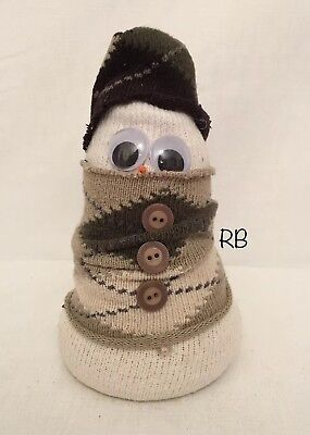 Hand Made Snow Bunny Made Out Of Socks Snowman Beige Brown Unique