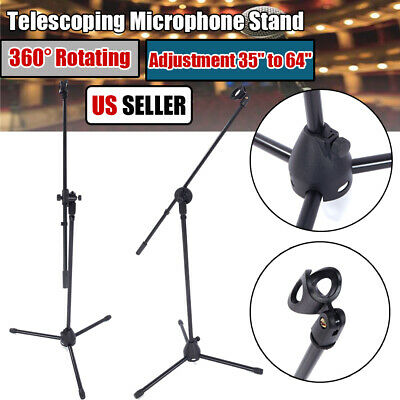 360° Rotating Telescopic Microphone Stand Mic Clip Arm Holder Collapsible Tripod