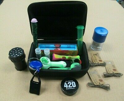 Tobacco Smoking Set Kit Silicone Pipes Grinder Tips Roller Airtight Jar 1 Hitter