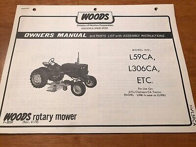WOODS ROTARY MOWER L59 L306 U L306 Owner Operator S Manual