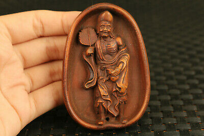 chinese old boxwood hand carved dragon figure statue collect netsuke decoration