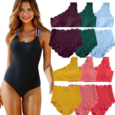 18d644b49b Women Ladies High Waisted Swimsuit Two Pieces Scalloped Trim One Shoulder  Bikini
