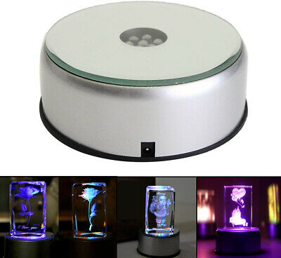 4' 7 LED Display Base for Crystals Glass Art,Colorful Light Rotating Crystal AC