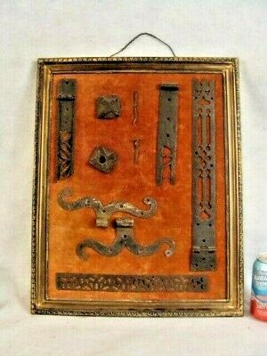 Antique Framed Group of 14th Century Window Hardware Fittings