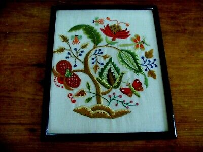Lovely Vintage Hand Embroidered Panel Picture~ Jacobean Tree Insects Dragonfly