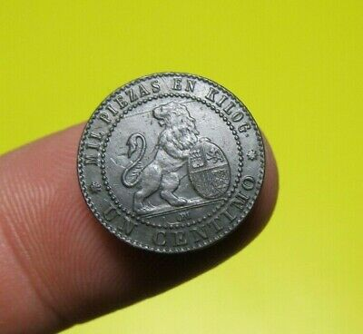 awesome 1870 PIRATE COBS SPANISH 1 Centimo  OM Colonial Coin SPANISH REPUBLIC*