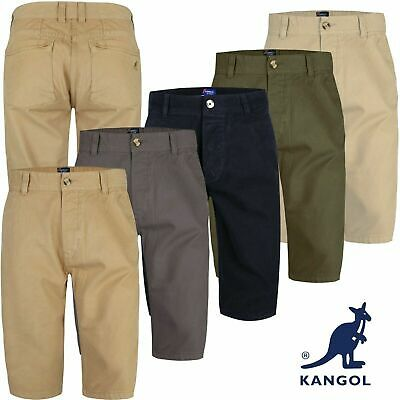 Mens Kangol Casual Knee Length Long 3/4 Chino Summer Shorts Bottoms Cotton Pants